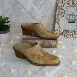 Dr scholls distressed western cowboy boots mules